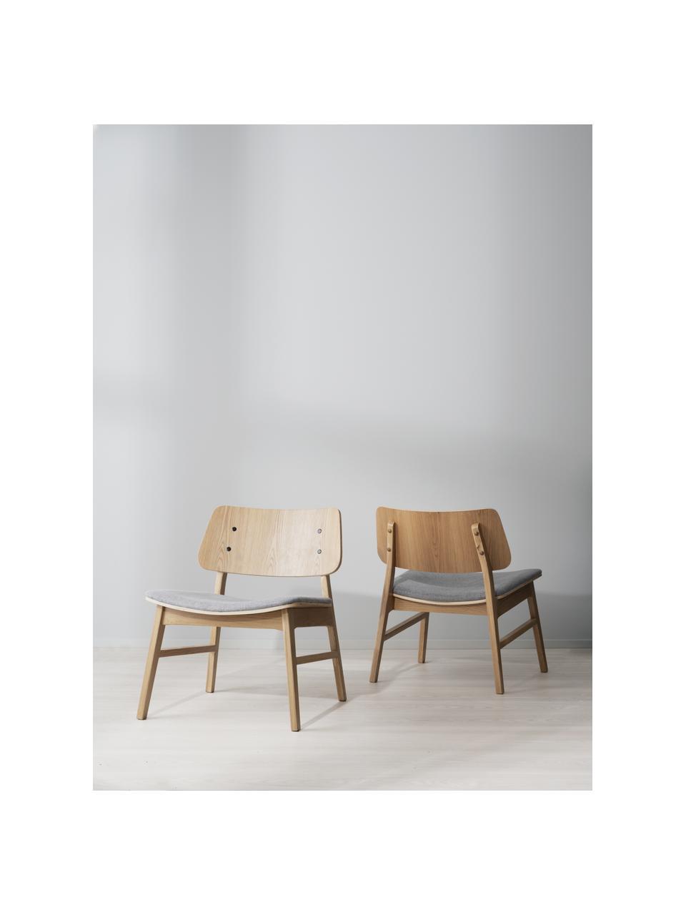 Eikenhouten loungefauteuil Nagano, Bekleding: 100% polyester, Lichtbruin, lichtgrijs, 57 x 50 cm