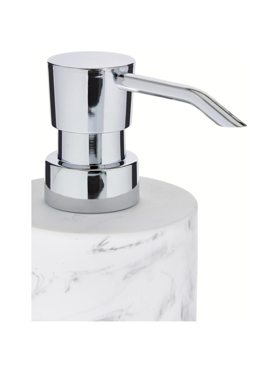 Distributore di sapone Swan, Contenitore: materiale sintetico (poli, Contenitore: bianco, marmorizzato Meccanismo di pompa: argentato, Ø 7 x Alt. 17 cm