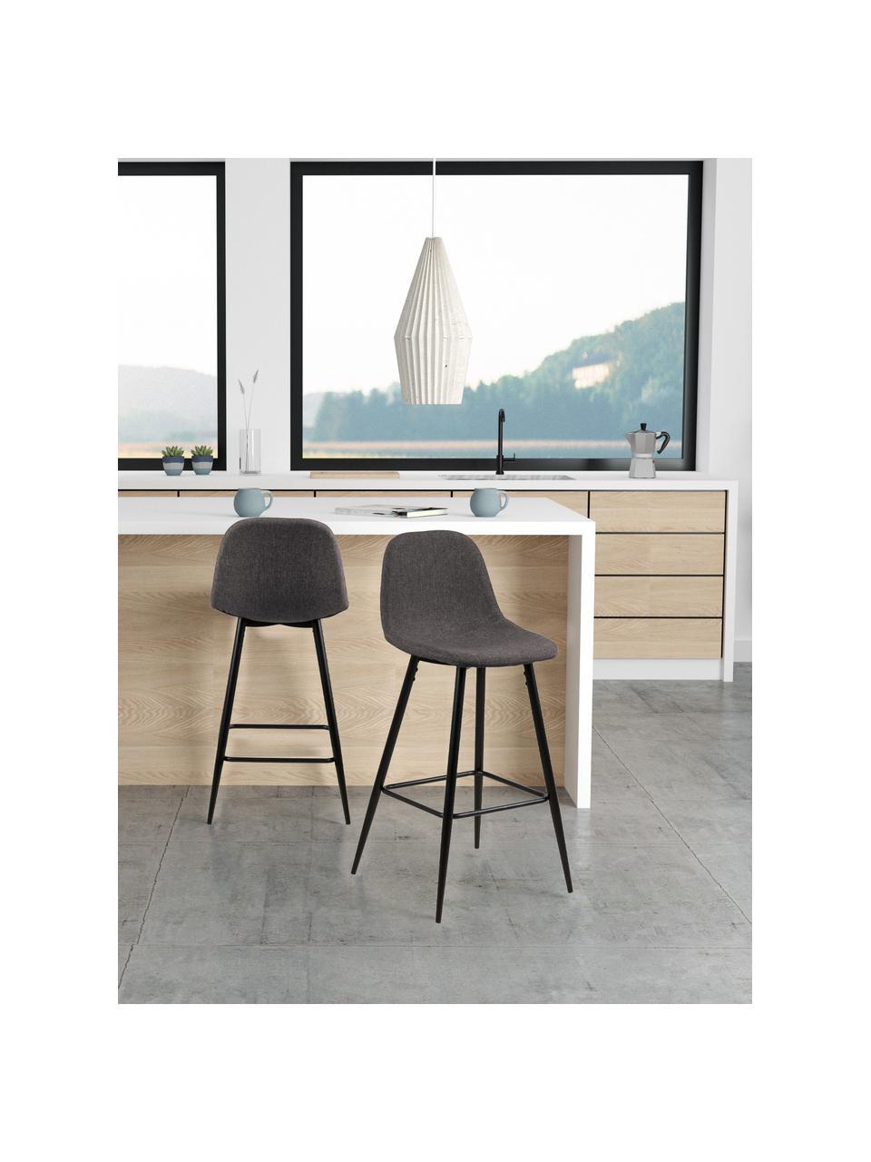 Krzesło kontuarowe Wilma, 2 szt., Tapicerka: poliester, Stelaż: metal lakierowany, Szary, S 44 x W 91 cm