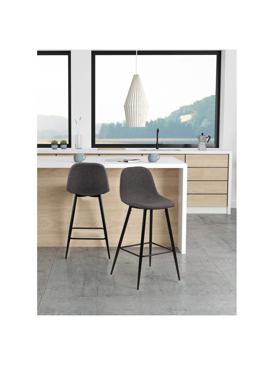Sedia da bar in tessuto grigio Wailma 2 pz, Rivestimento: poliestere, Struttura: metallo verniciato, Grigio, Larg. 44 x Alt. 91 cm
