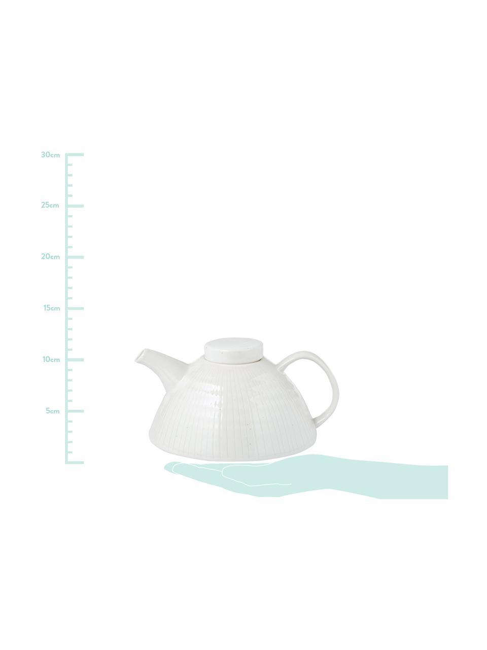 Handgemachte Teekanne Copenhagen mit feinen Streifen, 1 L, Steingut, Elfenbein mit feinen hellbeigen Streifen, 1 L