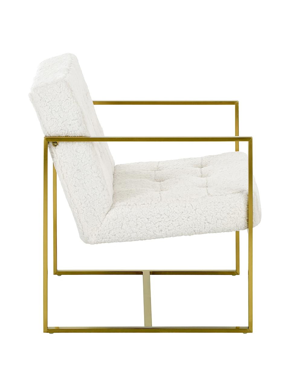 Silla de borreguillo Manhattan, Tapizado: poliéster (borreguillo), Estructura: metal, recubierto, Borreguillo blanco crema, An 70 x F 72 cm