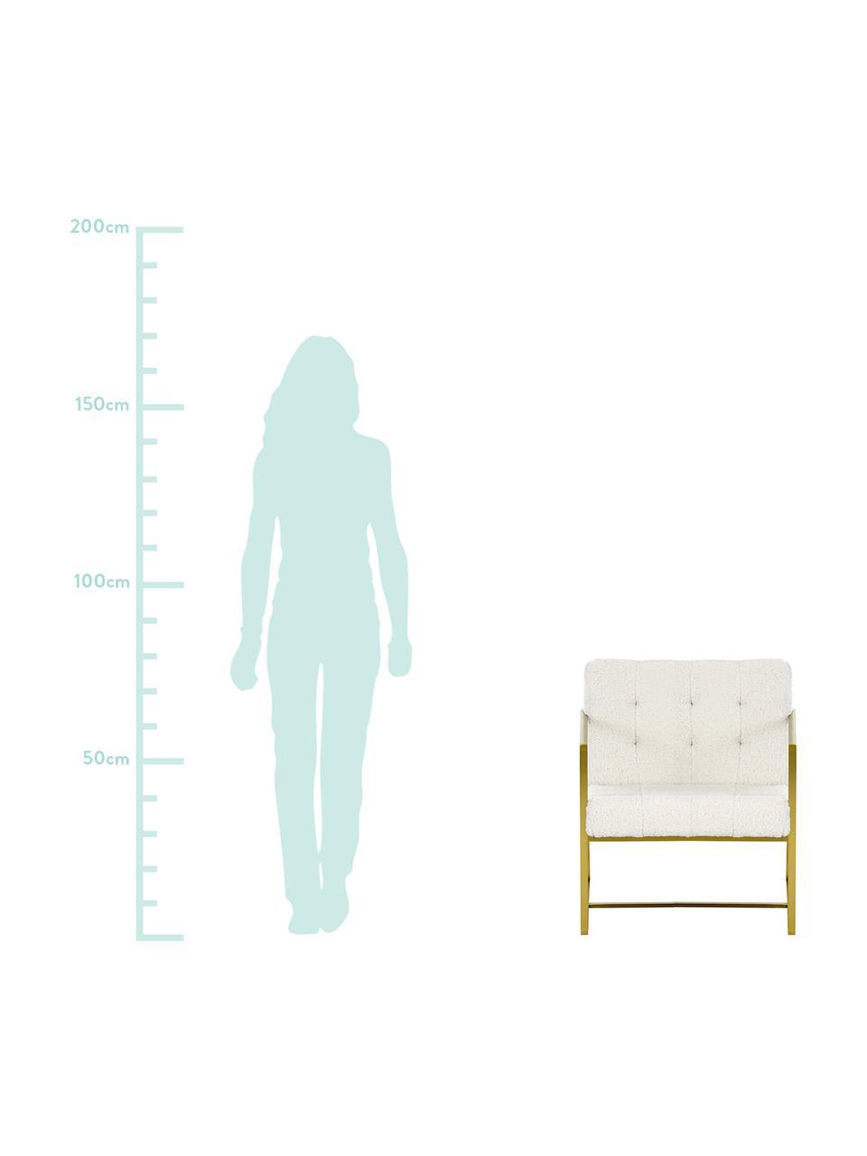Sedia a poltrona in tessuto teddy Manhattan, Rivestimento: poliestere (peluche), Struttura: metallo, rivestito, Peluche bianco crema, Larg. 70 x Prof. 72 cm