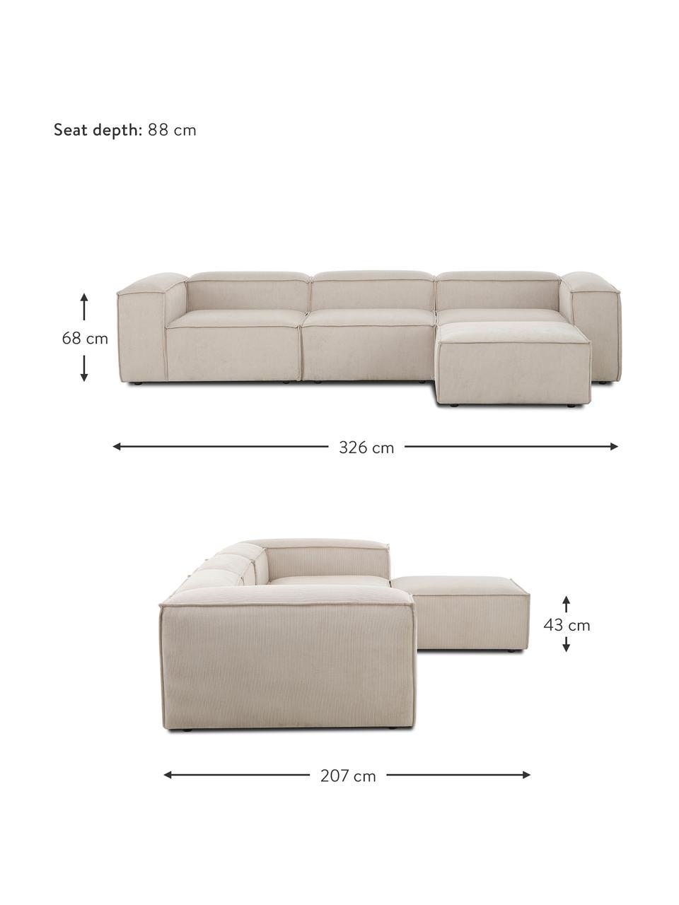 Modulares Sofa Lennon (4-Sitzer) mit Hocker in Beige aus Cord, Bezug: Cord (92% Polyester, 8% P, Gestell: Massives Kiefernholz, Spe, Füße: Kunststoff Die Füße befin, Cord Beige, B 327 x T 207 cm