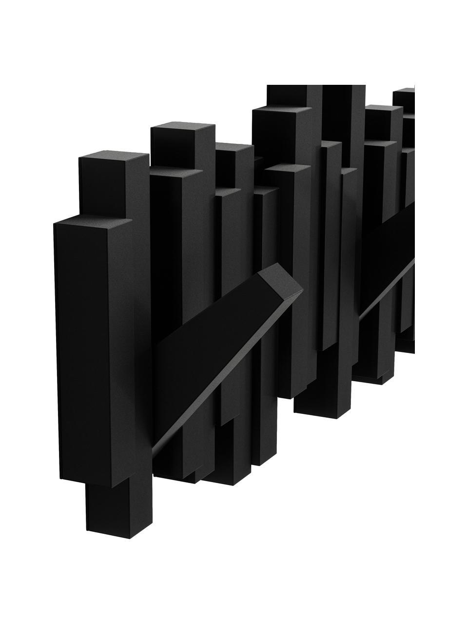 Wieszak ścienny Sticks, Tworzywo sztuczne, Czarny, S 48 x W 18 cm