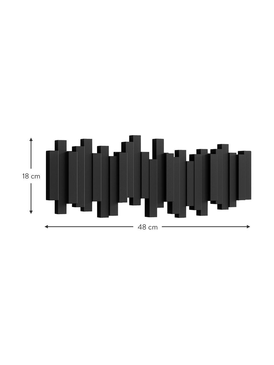 Garderobenhaken Sticks in Schwarz, Kunststoff, Schwarz, 48 x 18 cm
