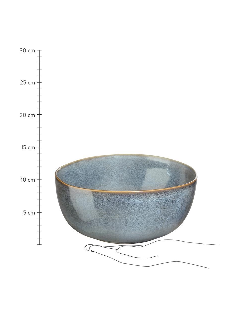 Schüssel Saisons aus Steingut in Beige, Ø 22 cm, Steingut, Blau, Ø 22 x H 11 cm