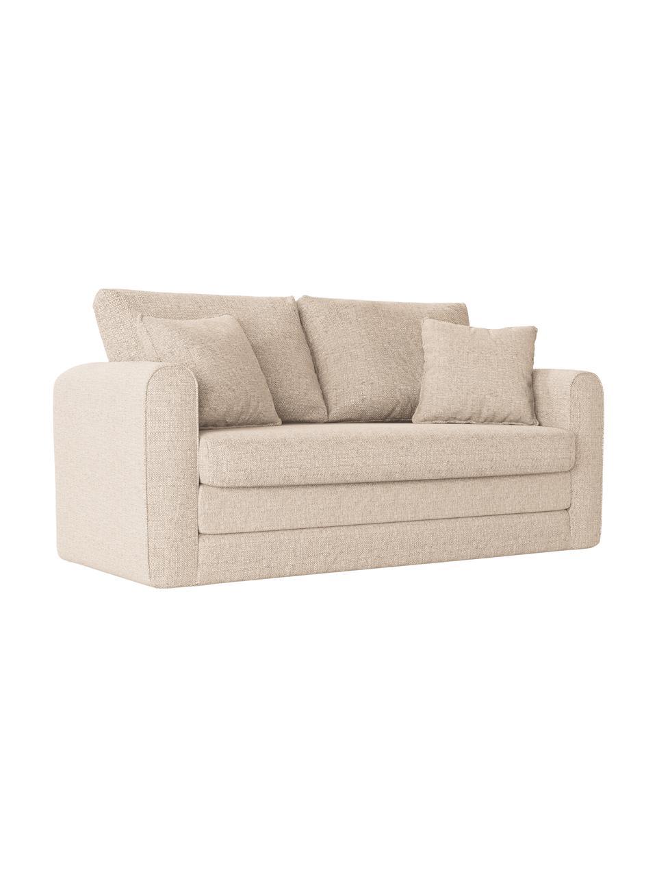 Sofa rozkładana Lido (2-osobowa), Tapicerka: poliester imitujący len D, Nogi: tworzywo sztuczne, Jasny beżowy, S 158 x G 69 cm