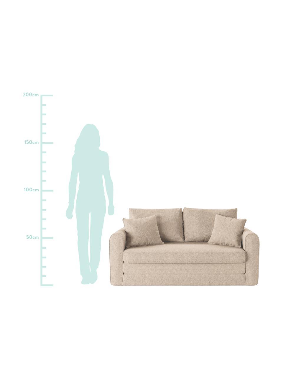 Divano letto 2 posti in tessuto grigio chiaro Lido, Beige chiaro, Larg. 158 x Alt. 69 cm