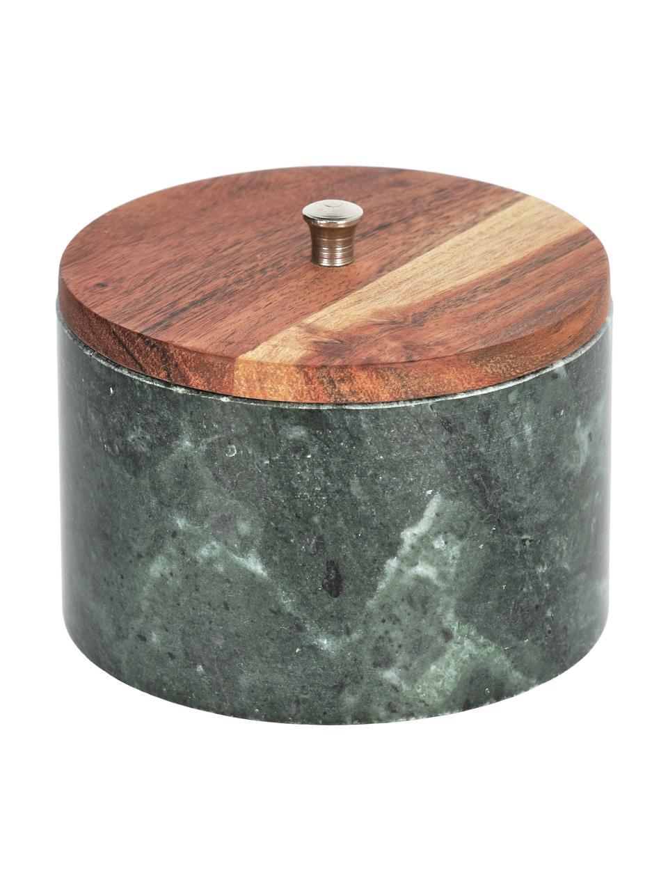 Marmeren opbergpot Karla in groen, Pot: marmer, Deksel: acaciahout, Groen, bruintinten, Ø 13 x H 10 cm