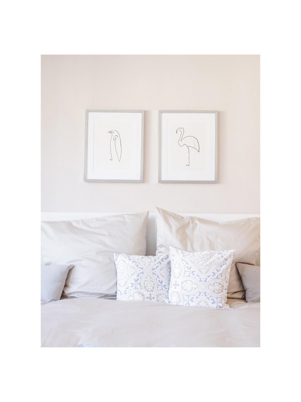 Stampa digitale incorniciata Picasso's Flamingo, Immagine: stampa digitale, Cornice: materiale sintetico, effe, Immagine: nero, bianco Cornice: argentato, L 40 x A 50 cm