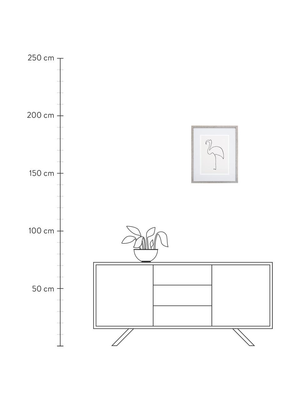 Gerahmter Digitaldruck Picasso's Flamingo, Bild: Digitaldruck, Rahmen: Kunststoff, Antik-Finish, Front: Glas, Bild: Schwarz, Weiß Rahmen: Silberfarben, 40 x 50 cm
