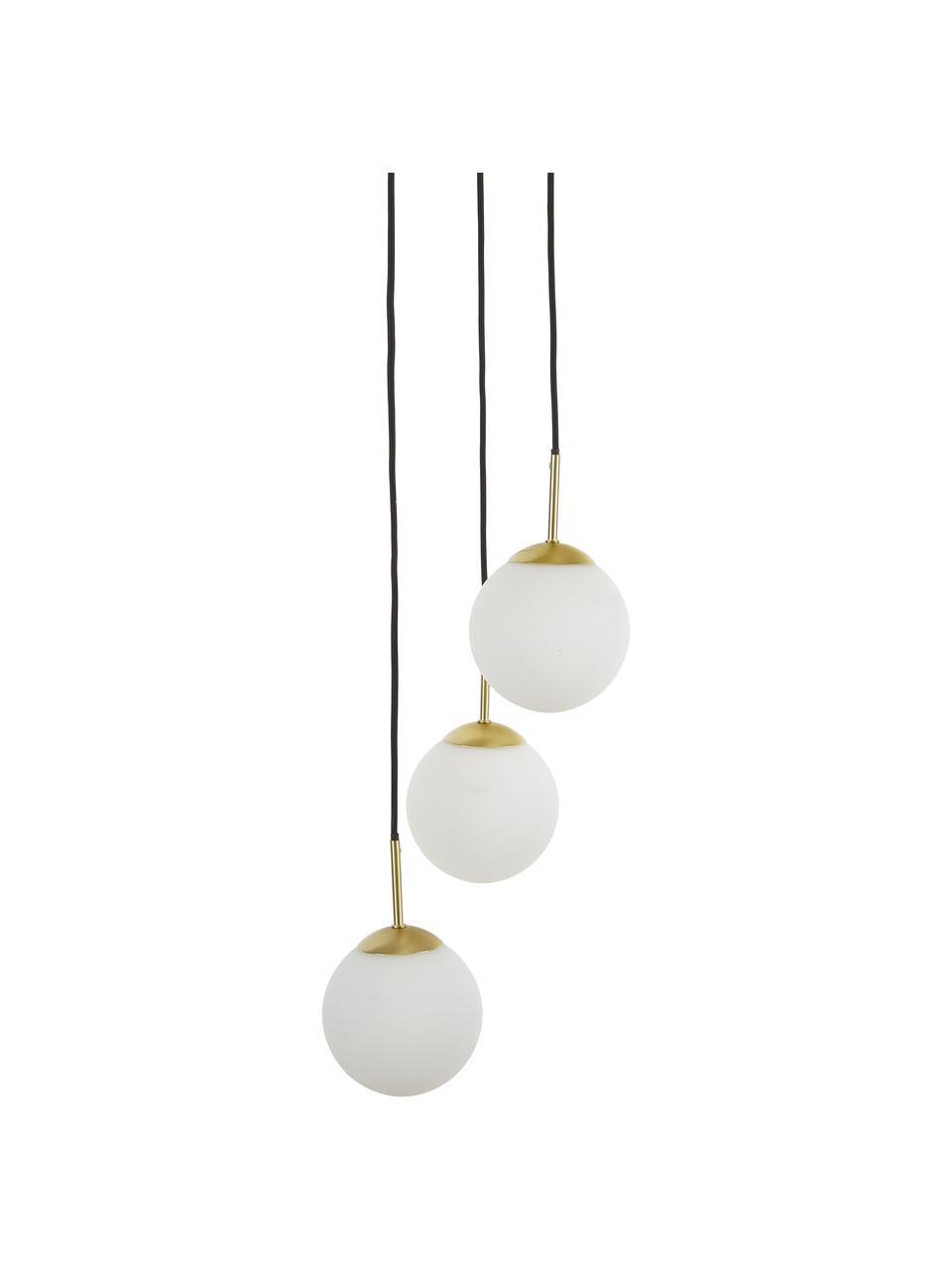 Suspension 3 lampes boules en verre Edie, Blanc, laiton