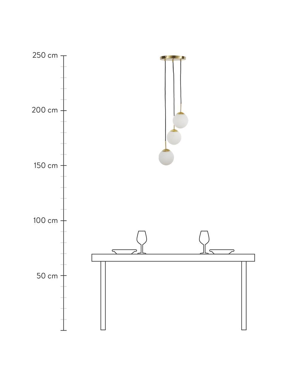 Cluster-Pendelleuchte Edie aus Opalglas, Baldachin: Metall, vermessingt, Dekor: Metall, vermessingt, Weiß, Messing, B 30 x T 30 cm