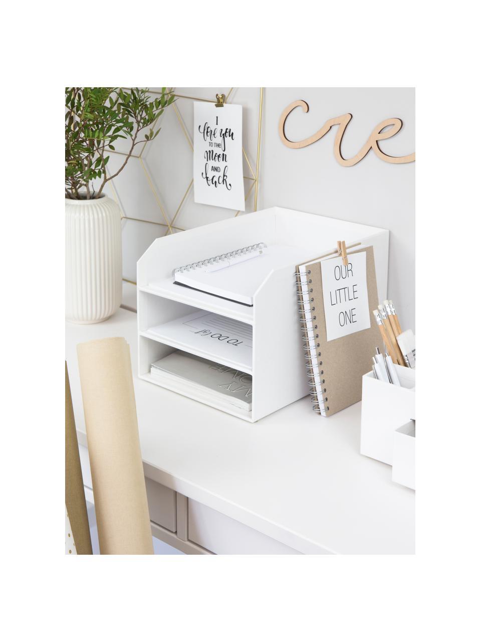 Dokumenten-Ablage Trey, Fester, laminierter Karton, Weiß, 23 x 21 cm