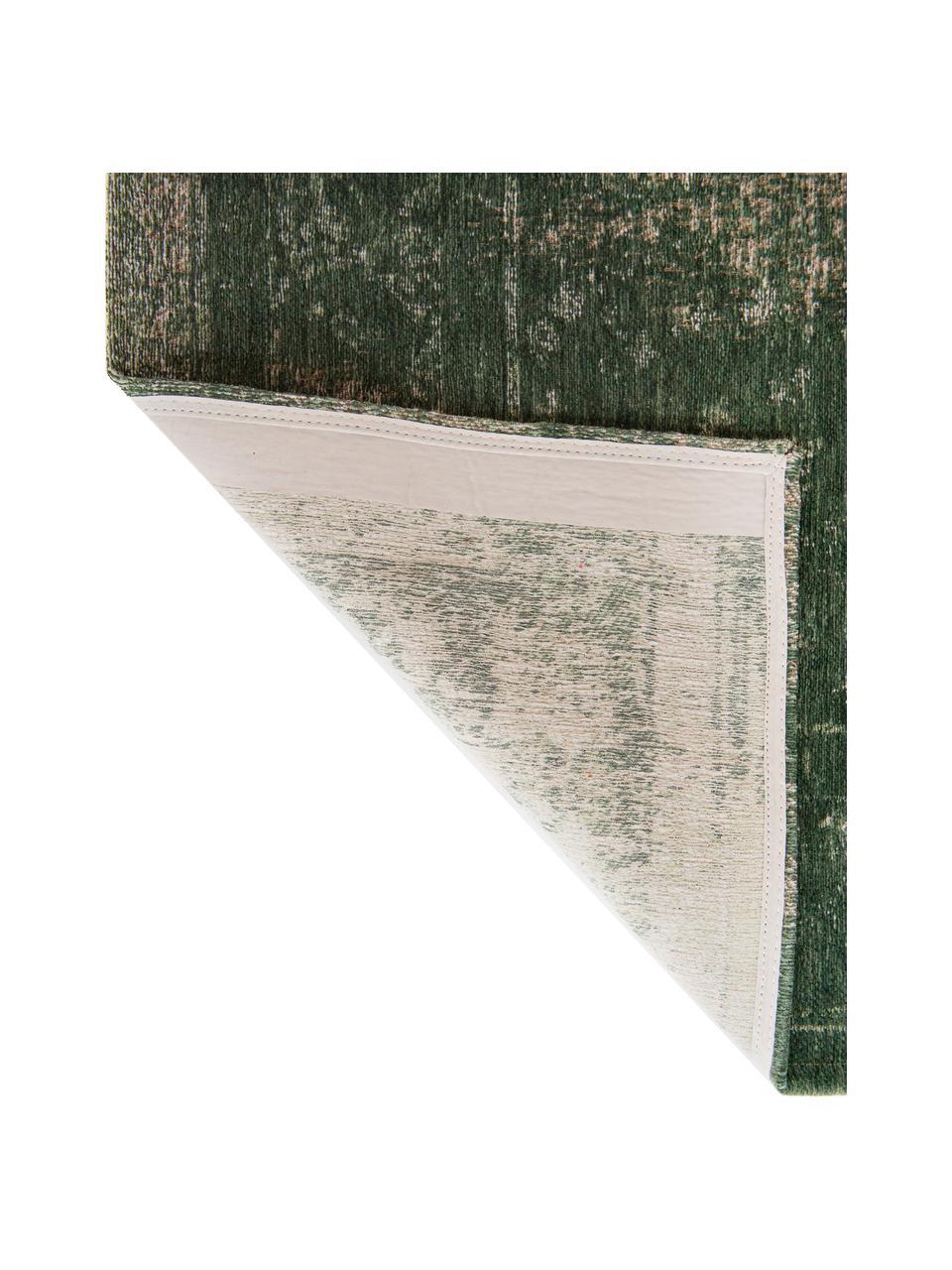 Vintage Chenilleteppich Medaillon in Dunkelgrün/Beige, Webart: Jacquard, Dunkelgrün, Beige, B 80 x L 150 cm (Größe XS)