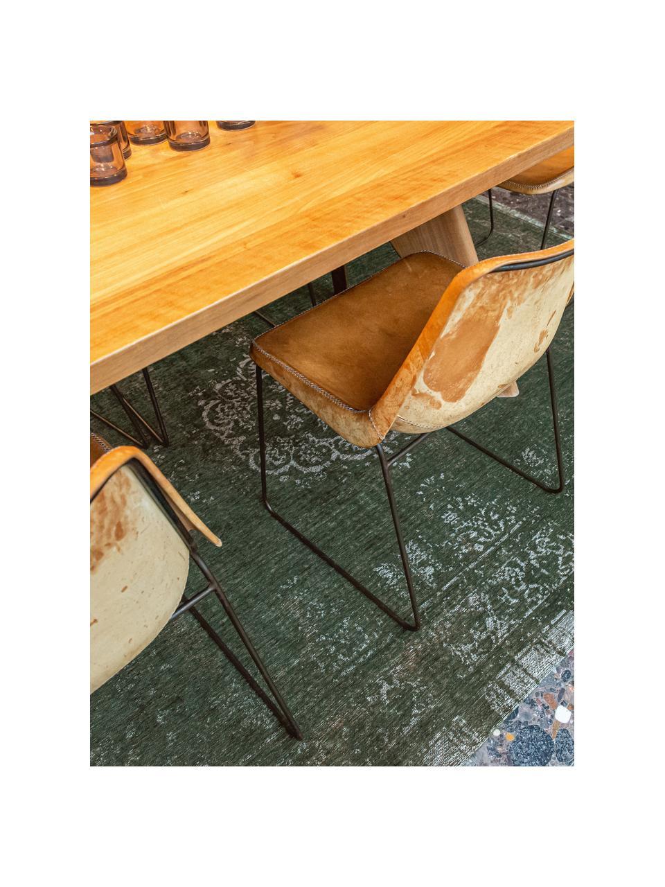 Tappeto vintage in ciniglia Medaillon, Retro: filato di ciniglia rivest, Verde scuro, beige, Larg. 80 x Lung. 150 cm (taglia XS)