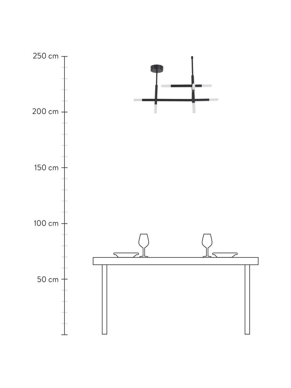 LED-Deckenleuchte Gratia in Schwarz, Baldachin: Metall, pulverbeschichtet, Schwarz, 76 x 50 cm
