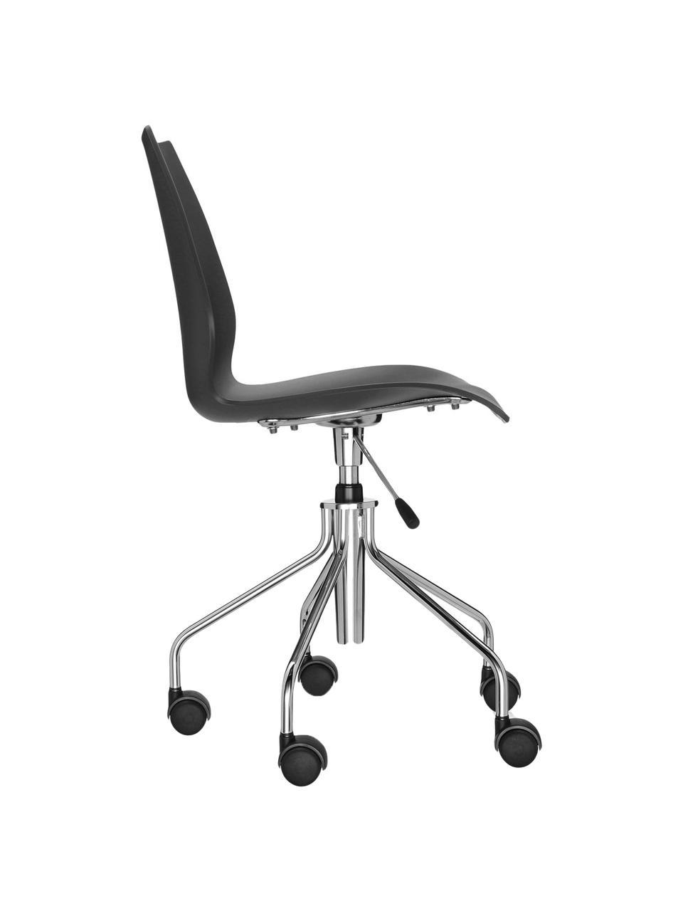 Biurowe krzesło obrotowe z regulacją wysokości Maui, Stelaż: stal, chromowany, Czarny, chrom, S 58 x G 52 cm
