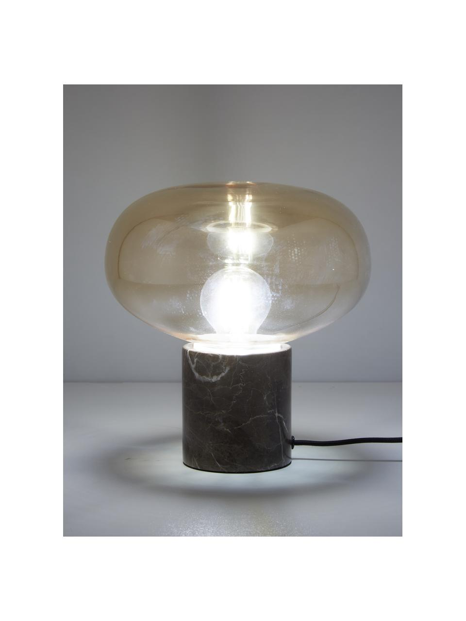 Petite lampe de nuit en marbre Alma, Pied de lampe: marbre brun abat-jour: ambré, transparent