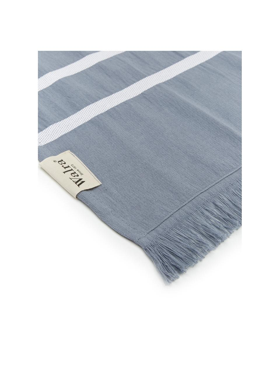 Gestreiftes Hamamtuch Filena, 100% Baumwolle, Blau, Weiß, 100 x 180 cm