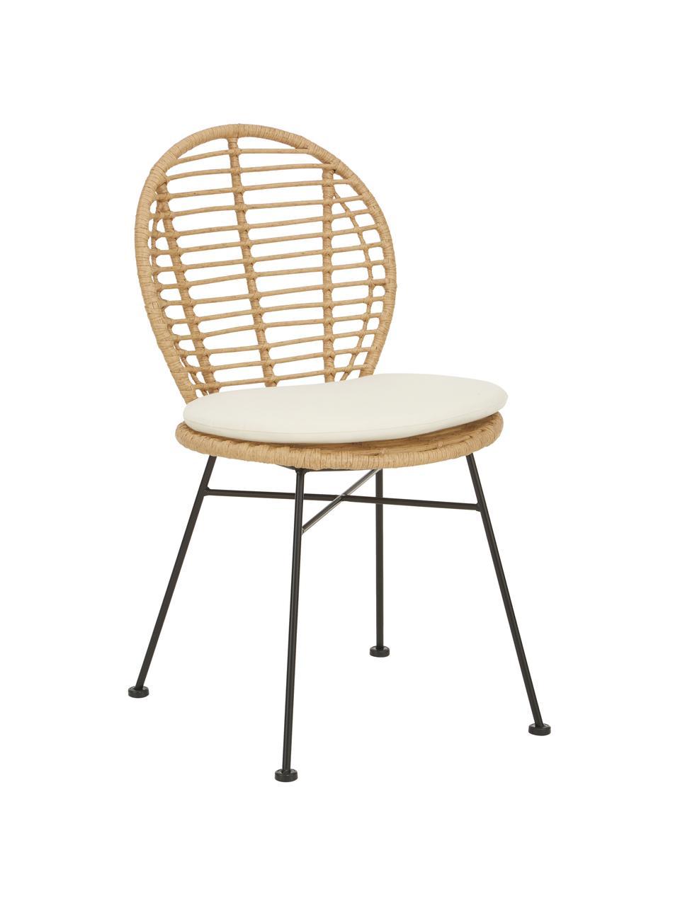 Polyrattan-Stühle Cordula mit Sitzkissen, 2 Stück, Sitzfläche: Polyethylen-Geflecht, Gestell: Metall, pulverbeschichtet, Sitzkissen: 100% Polyester, Braun, B 48 x T 57 cm