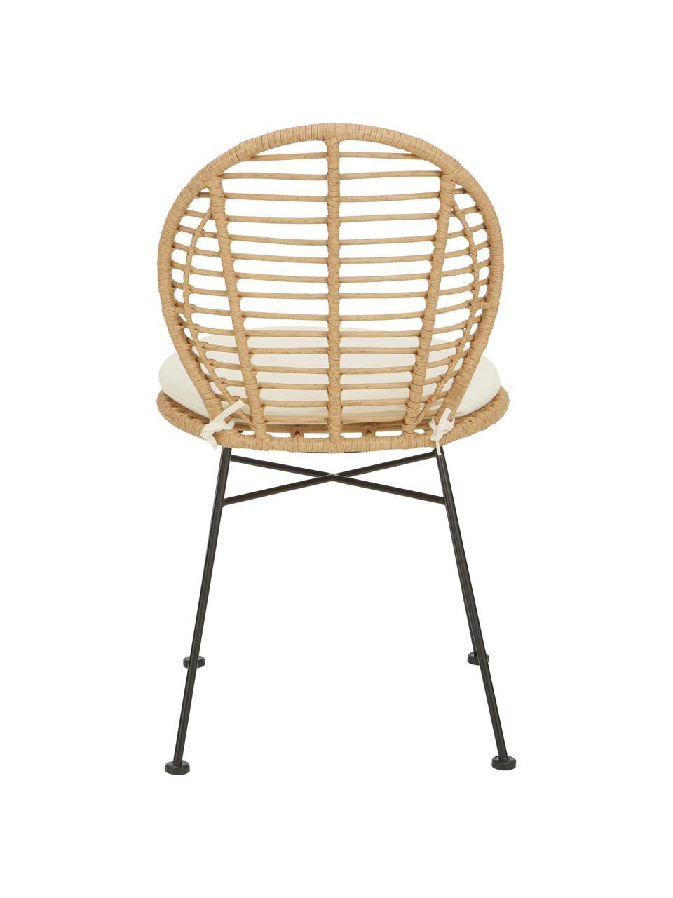 Polyrotan stoelen Cordula stoelkussen, 2 stuks, Zitvlak: polyethyleen vlechtwerk, Frame: gepoedercoat metaal, Bruin, 48 x 57 cm