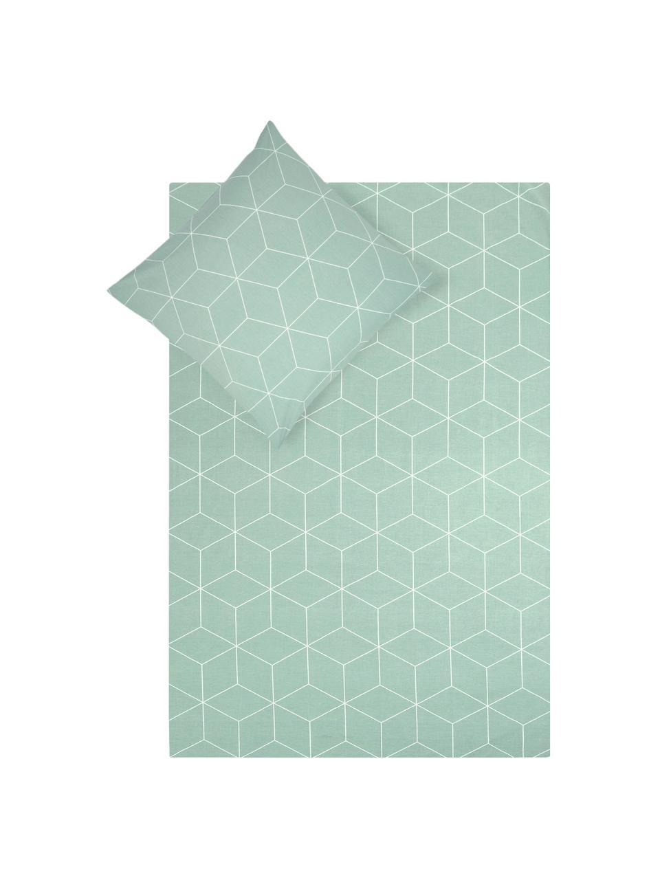 Baumwoll-Bettwäsche Lynn mit grafischem Muster, Webart: Renforcé Fadendichte 144 , Mint, Cremeweiß, 135 x 200 cm + 1 Kissen 80 x 80 cm