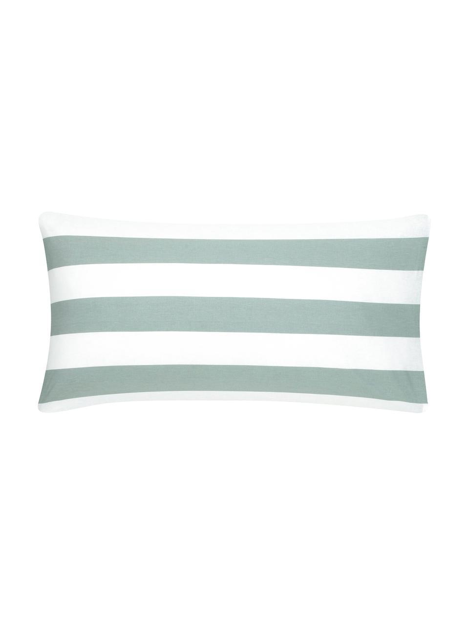 Oboustranný pruhovaný povlak na polštář z bavlny Lorena, 2 ks, Šalvějově zelená, bílá