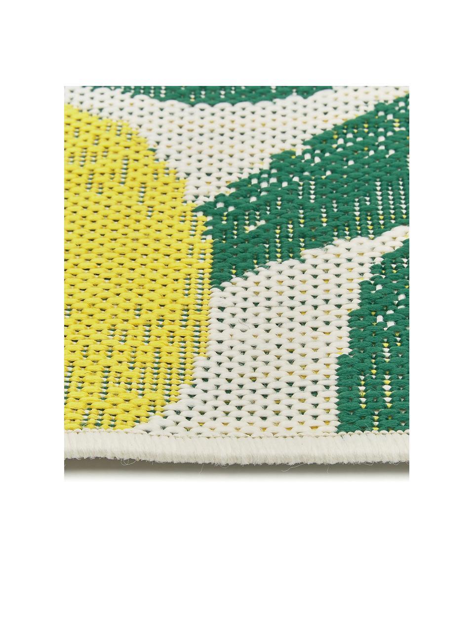 Chodnik wewnętrzny/zewnętrzny Limonia, 86% polipropylen, 14% poliester, Kremowobiały, żółty, zielony, S 80 x D 250 cm
