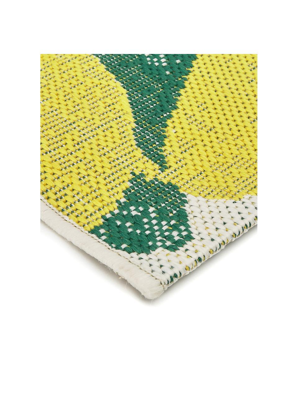 Tappeto da interno-esterno con stampa limoni Limonia, 86% polipropilene, 14% poliestere, Bianco crema, giallo, verde, Larg. 80 x Lung. 250 cm