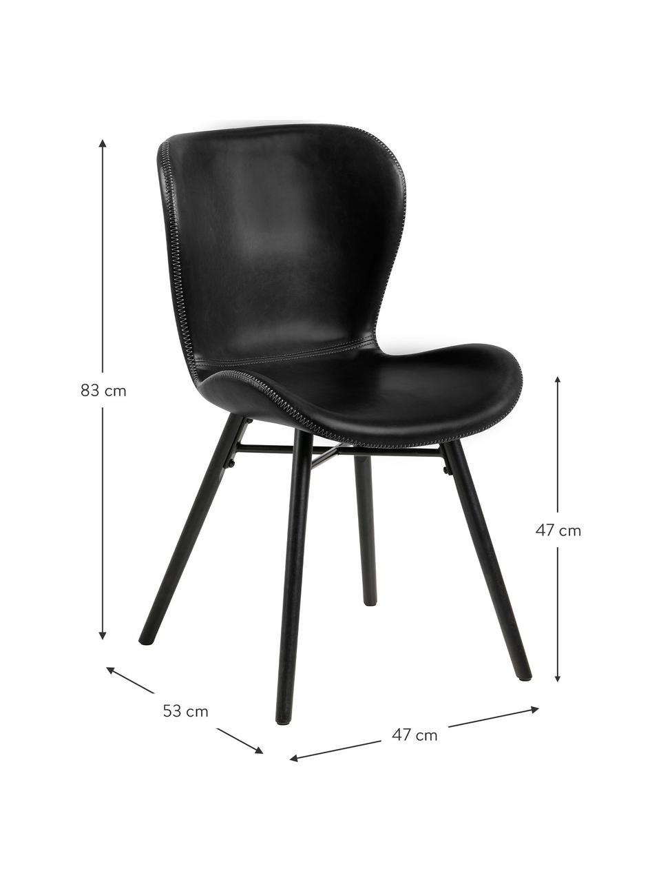 Chaise noire en cuir synthétique rembourrée Batilda, 2pièces, Cuir synthétique noir