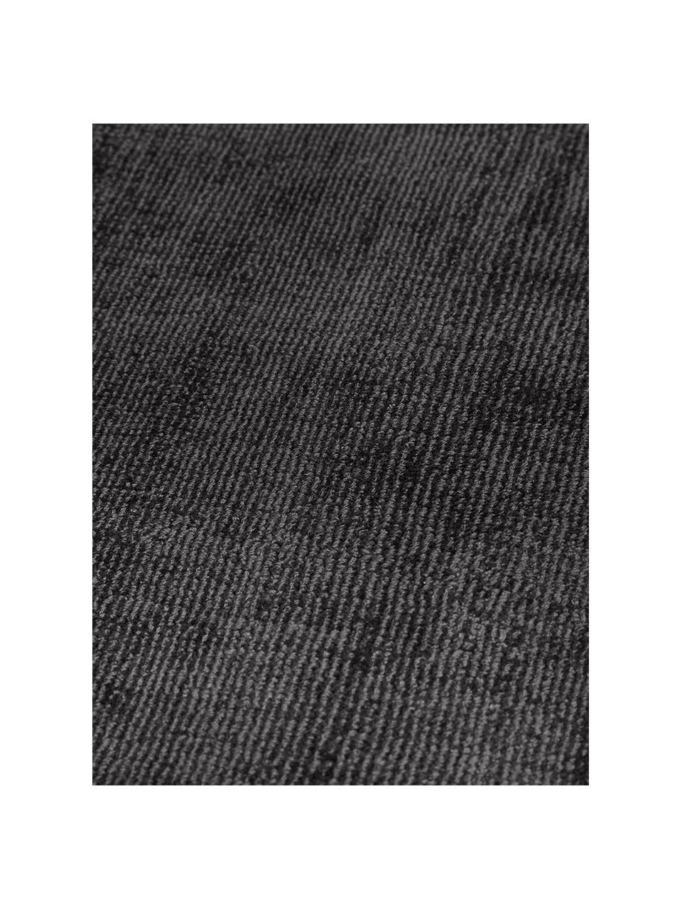 Runder Viskoseteppich Jane in Anthrazit-Schwarz, handgewebt, Flor: 100% Viskose, Anthrazit-Schwarz, Ø 200 cm (Größe L)
