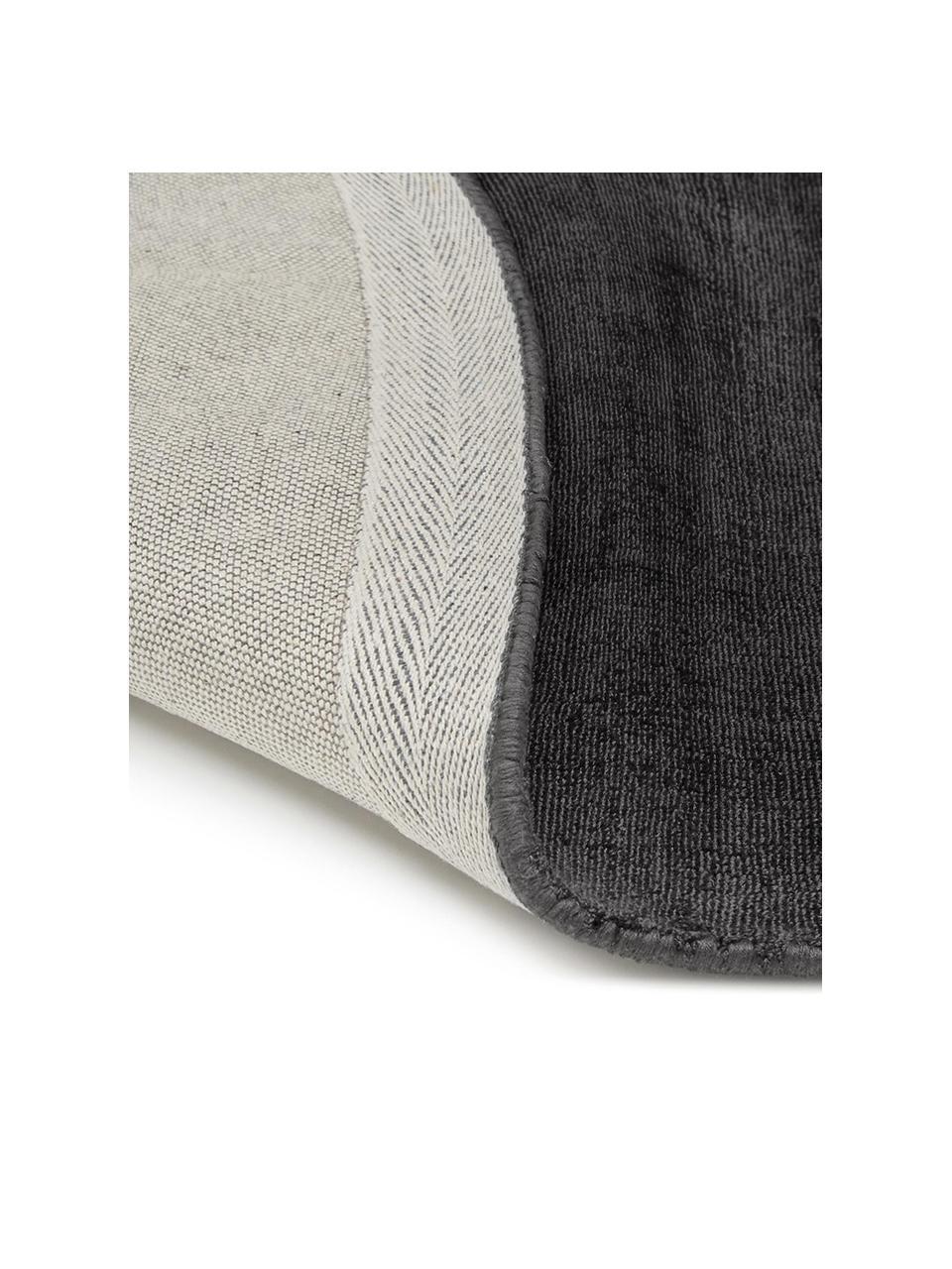 Tappeto rotondo in viscosa color nero-antracite tessuto a mano Jane, Retro: 100% cotone, Nero antracite, Ø 200 cm (taglia L)