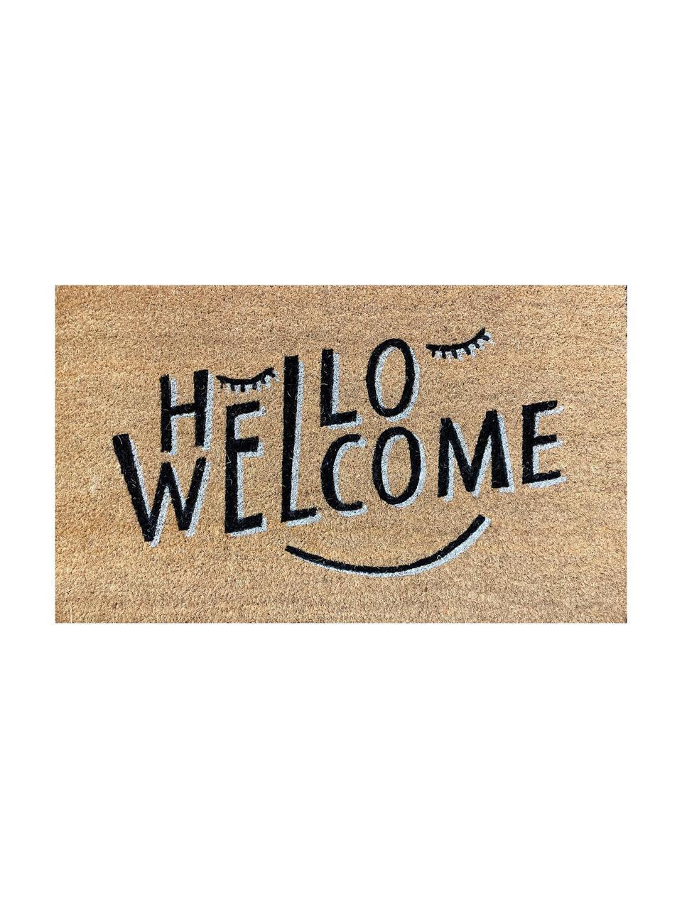 Paillasson fibre de coco Hello Welcome, Beige, noir
