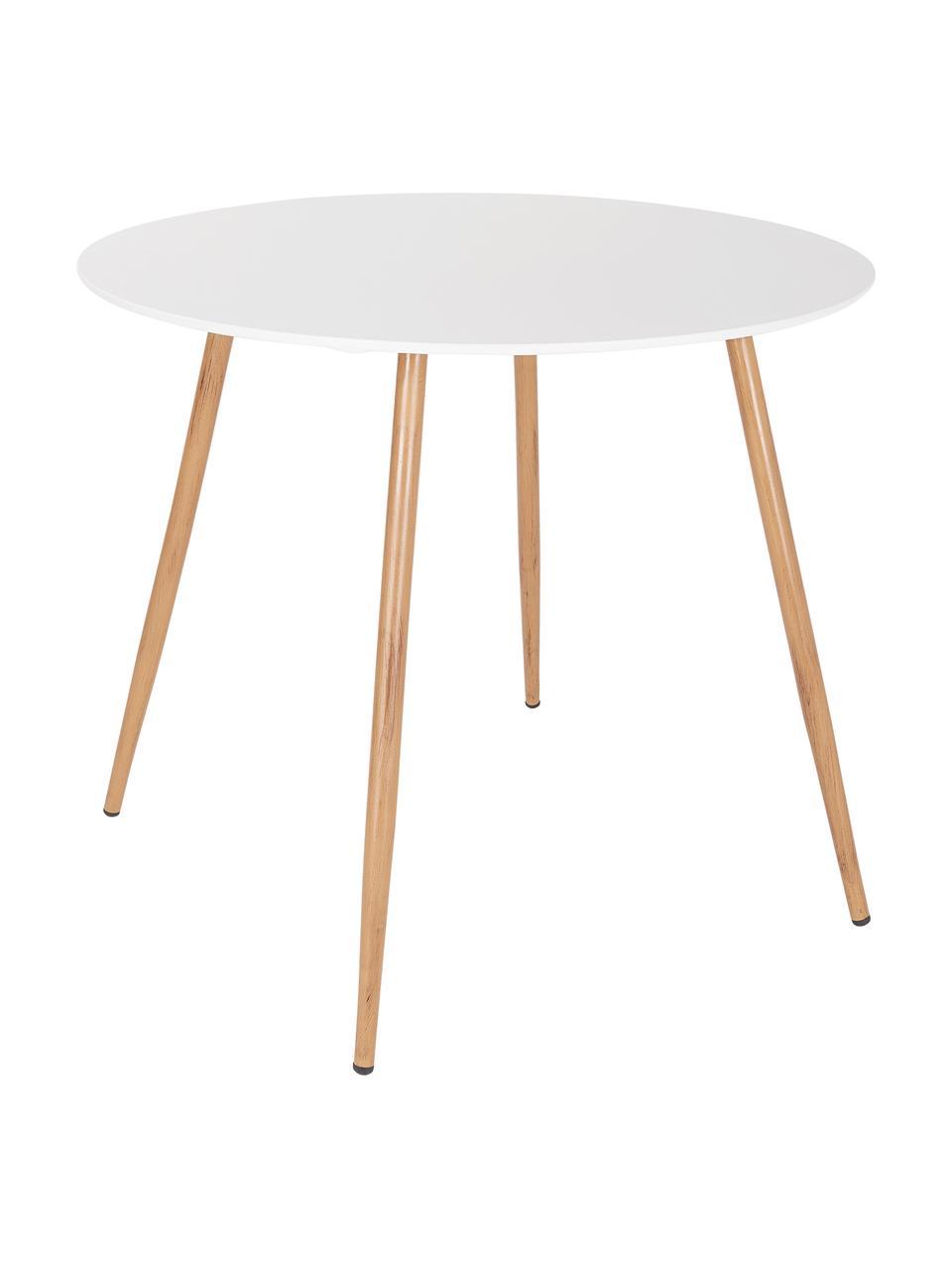 Runder Gartentisch Linea, Ø 90 cm, Tischplatte: Metall, beschichtet, Beine: Metall, beschichtet, Weiß, Hellbraun, Ø 90 cm x H 77 cm