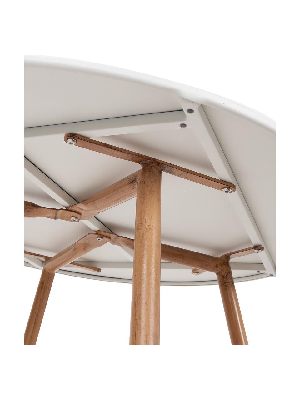 Gartentisch Linea, Tischplatte: Metall, beschichtet, Beine: Metall, beschichtet, Weiß, Hellbraun, Ø 90 cm x H 77 cm