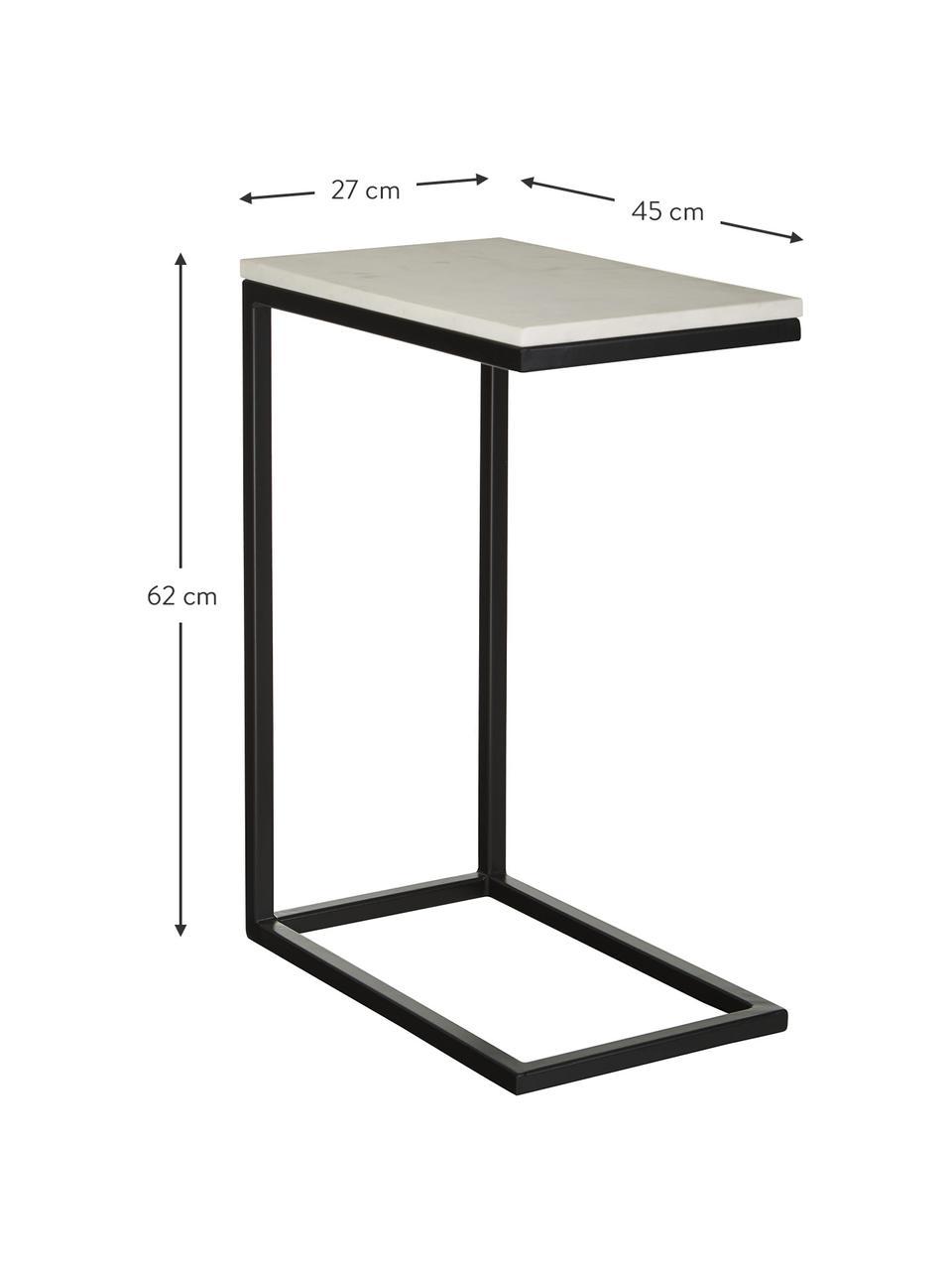 Tavolino in marmo Celow, Piano d'appoggio: marmo, pannello di fibra , Struttura: metallo verniciato a polv, Bianco, Larg. 45 x Alt. 62 cm