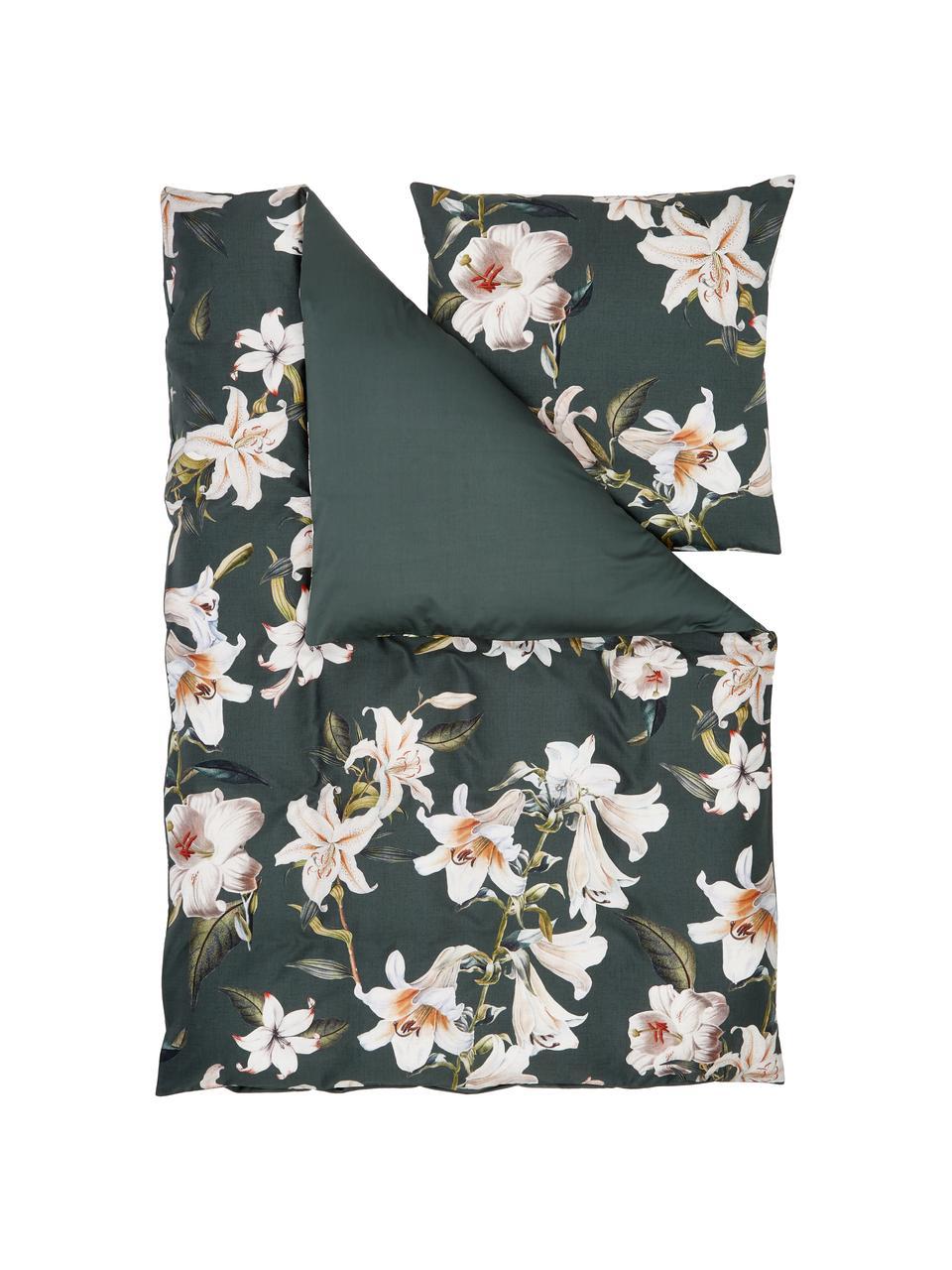 Baumwollsatin-Bettwäsche Flori in Dunkelgrün mit Blumen-Print, Webart: Satin Fadendichte 210 TC,, Vorderseite: Grün, CremeweißRückseite: Grün, 135 x 200 cm + 1 Kissen 80 x 80 cm