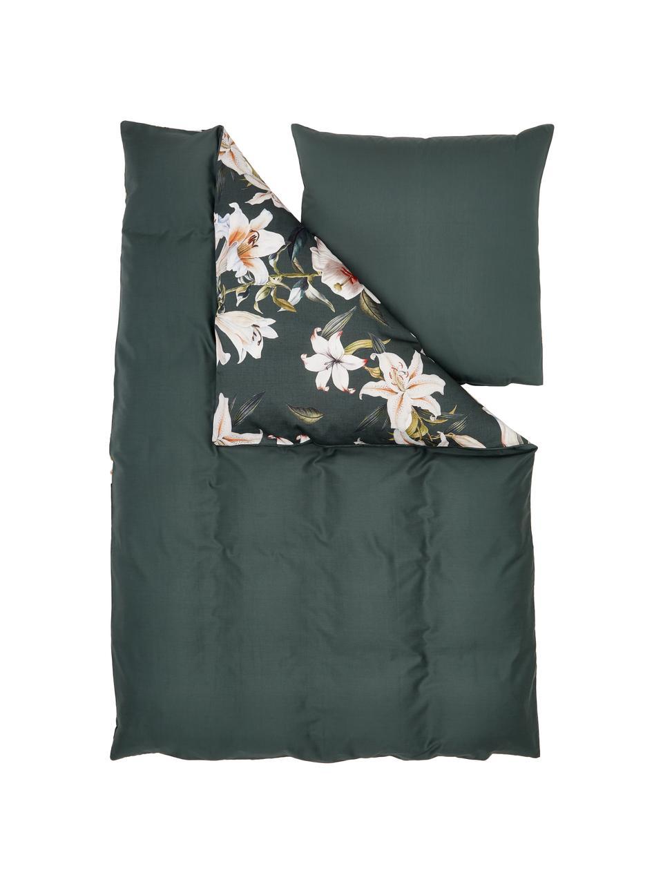 Pościel z satyny bawełnianej Flori, Przód: zielony, kremowobiały Tył: zielony, 240 x 220 cm + 2 poduszki 80 x 80 cm