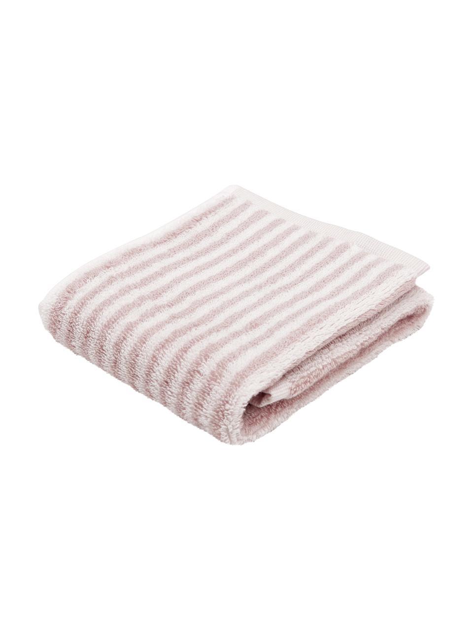 Serviette de toilette coton pur à rayures Viola, Rose, blanc crème