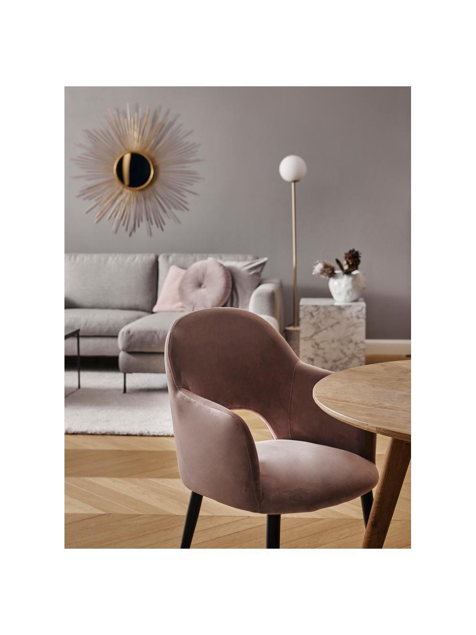Sedia con braccioli in velluto color malva Rachel, Rivestimento: velluto (rivestimento in , Gambe: metallo verniciato a polv, Velluto malva, Larg. 56 x Alt. 70 cm