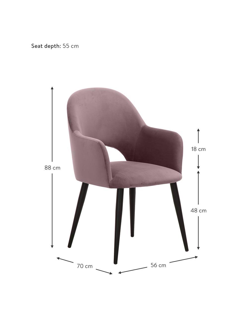 Krzesło z podłokietnikami z aksamitu Rachel, Tapicerka: aksamit (wysokiej jakości, Nogi: metal malowany proszkowo, Aksamitny blady różowy, S 56 x G 70 cm