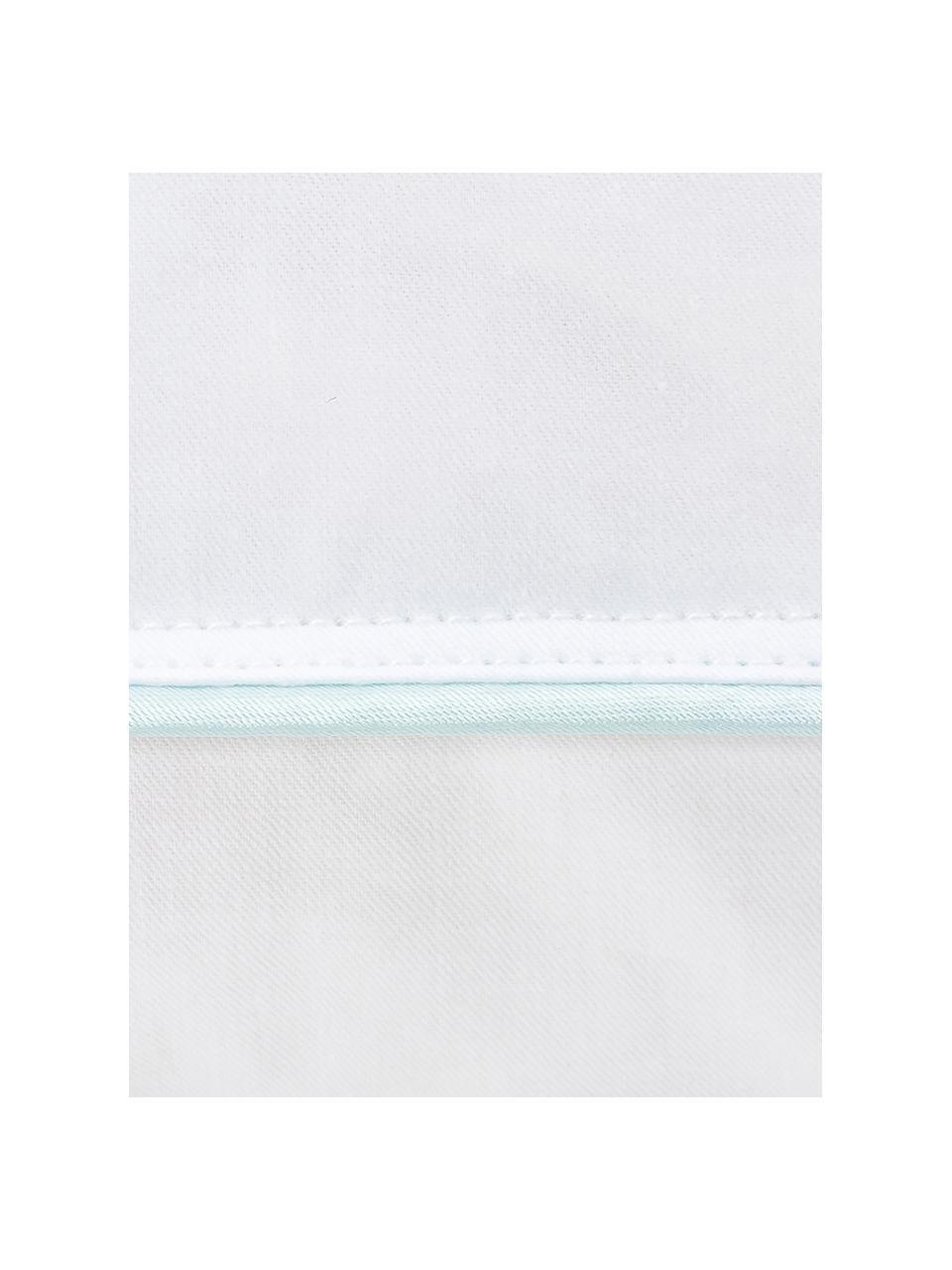 Feder-Kopfkissen Comfort, weich, Hülle: 100% Baumwolle, Mako-Fein, Weiß mit türkiser Satinbiese, 80 x 80 cm