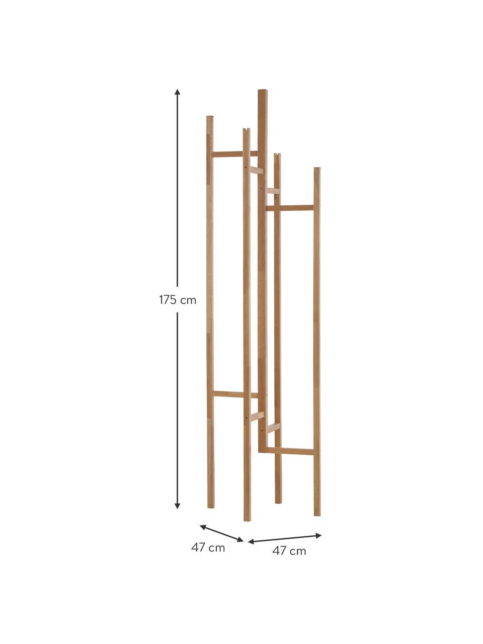 Wieszak stojący z drewna dębowego z 5 Eigen, Lite drewno dębowe, Drewno dębowe, S 47 x W 175 cm