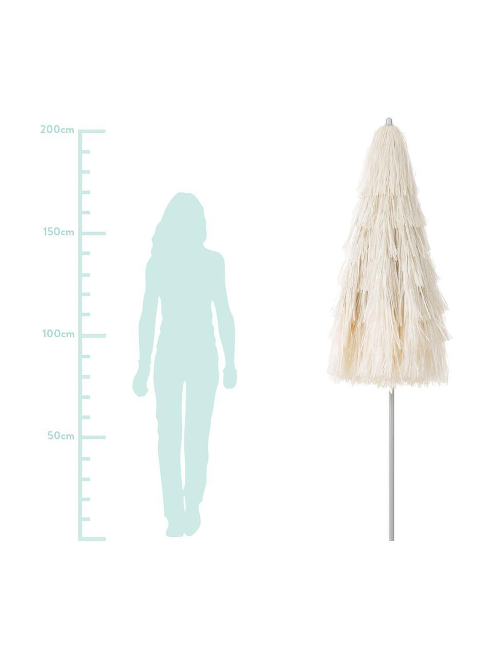 Ombrellone piegabile con frange Hawaii, Ø 200 cm, Rivestimento: poliestere, Beige, Ø 200 x Alt. 210 cm