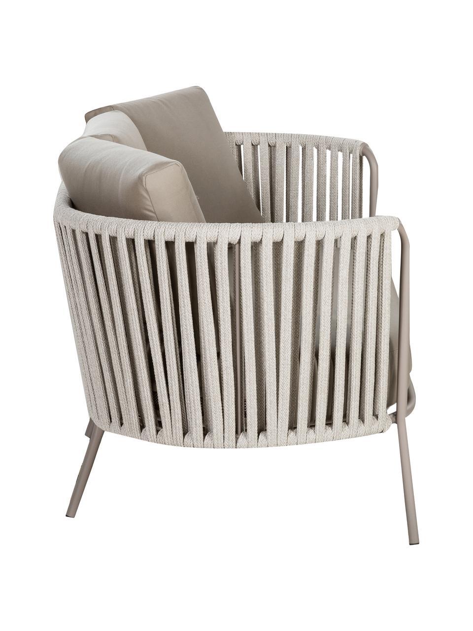 Outdoor loungebank Sunderland (2-zits) met zitkussen, Poten: galvanisch verzink en gep, Bekleding: polyacryl, Taupe, lichttaupe, B 162 x D 73 cm