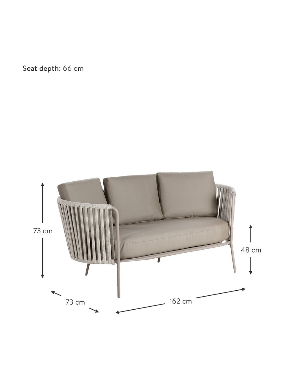 Sofa ogrodowa z tapicerowanym siedziskiem Sunderland (2-osobowa), Nogi: stal cynkowana galwaniczn, Tapicerka: poliakryl, Taupe, jasny taupe, S 162 x G 73 cm