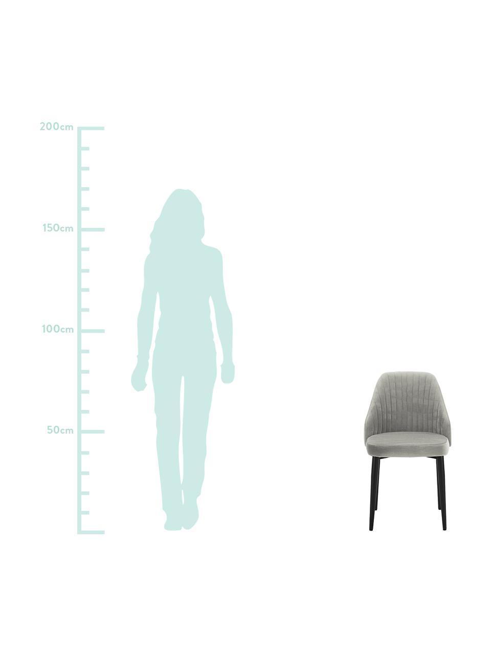 Samt-Polsterstühle Lucie, 2 Stück, Bezug: Samt (100% Polyester), Beine: Metall in Walnussholz-Opt, Samt Grau, B 49 x T 57 cm