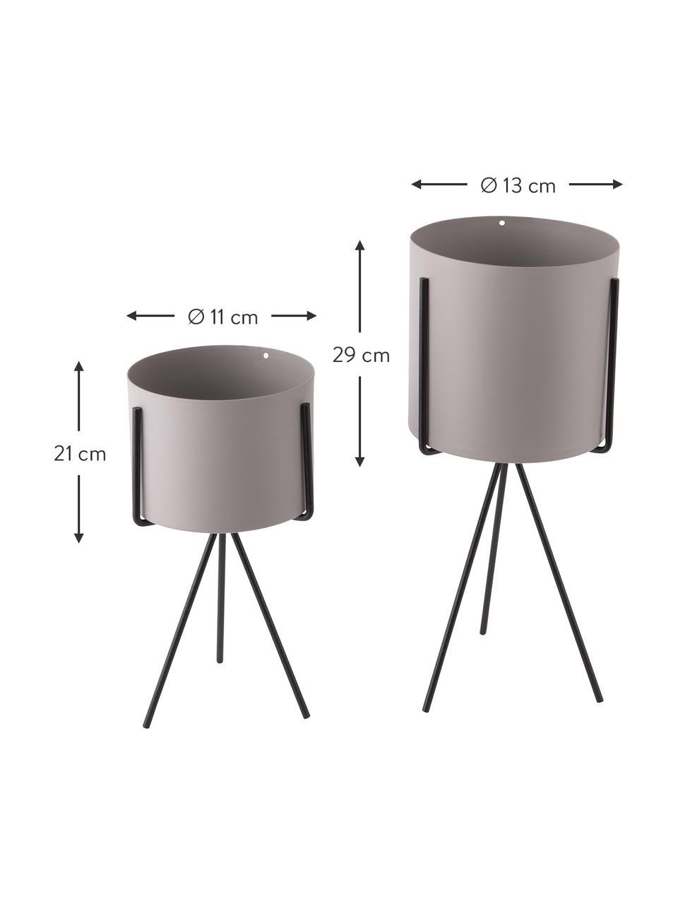 Komplet osłonek na doniczkę z metalu Pedestal, 2 elem., Metal powlekany, Szary, czarny, Komplet z różnymi rozmiarami